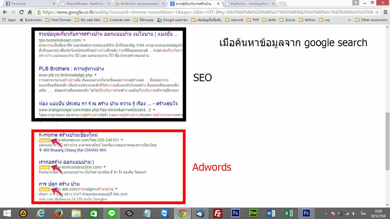 แสดงตำแหน่งผลการค้นหาจากการทำ SEO กับ AdWords